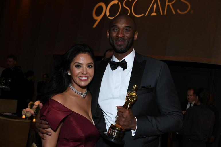 Vanessa et Kobe Bryant à Hollywood le 5 mars 2018. Le basketteur avait reçu l'Oscar du meilleur court métrage d'animation