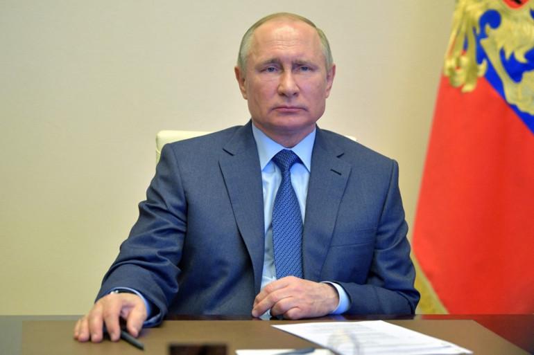 Le Président russe Vladimir Poutine, a pris la parole en visioconférence depuis sa résidence extérieure à Moscou