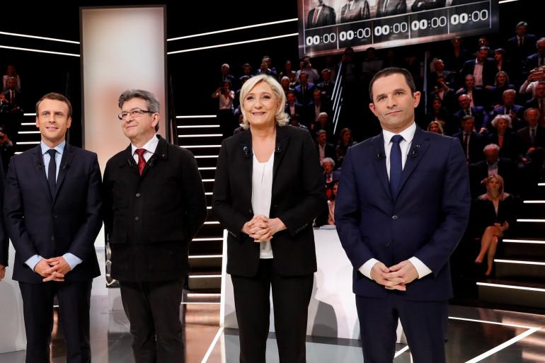 Macron, Mélenchon, Le Pen et Hamon lors du débat du 20 mars 2017
