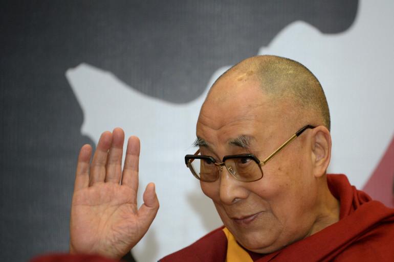 Le dalaï lama, pendant une conférence à New Delhi, le 27 avril 2017