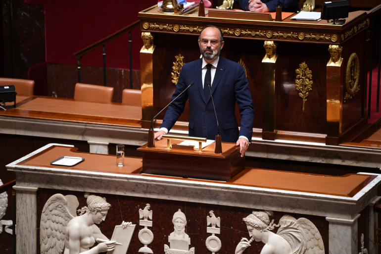 Édouard Philippe devant l'Assemblée nationale, le 28 avril 2020