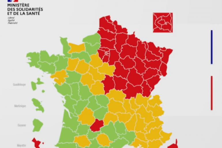 La carte des départements rouge, vert et orange