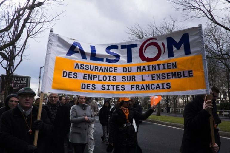 Une manifestation des employés d'Alstom