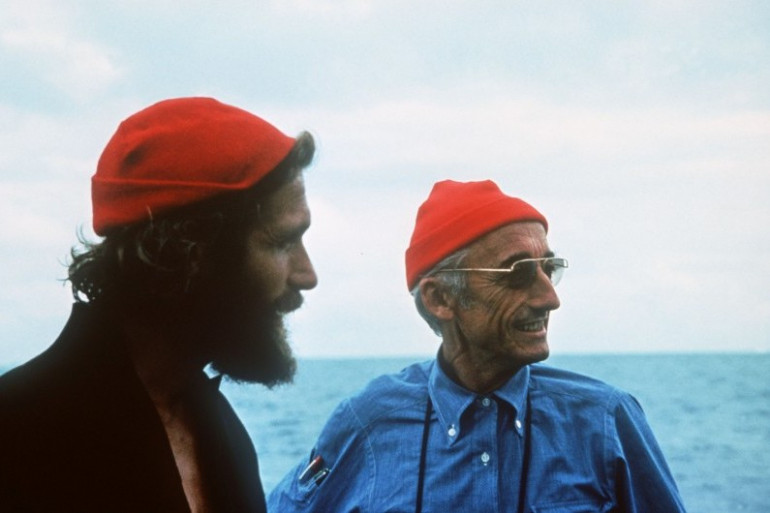Le commandant Jacques-Yves Cousteau et son fils Philippe, en 1985