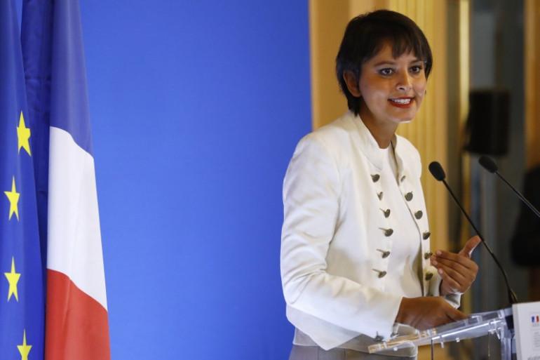 Najat Vallaud-Belkacem pendant sa conférence de presse de rentrée du lundi 29 août 2016