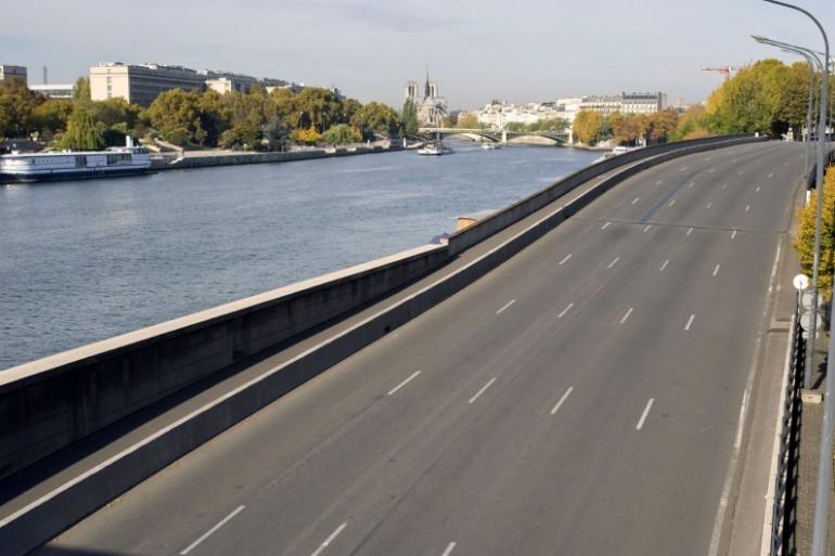 La voie sur berge de la rive droite de la Seine sans voiture, le 27 octobre 2015