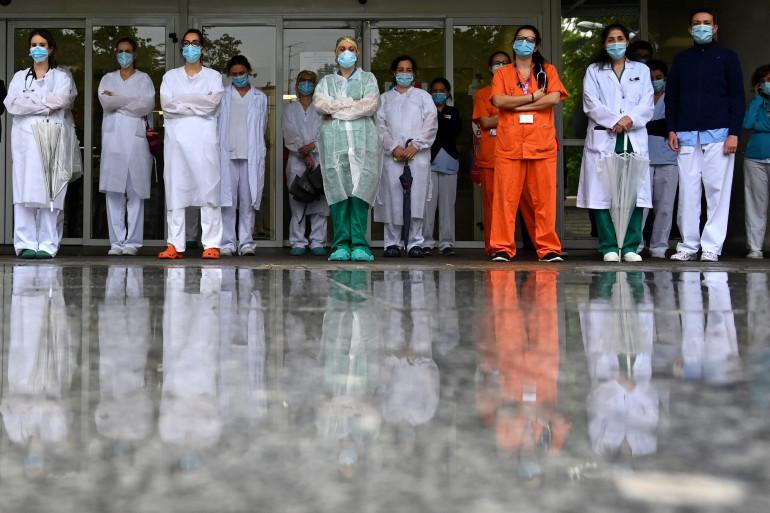 Le personnel soignant de l'hôpital de Madrid, le 14 mai 2020 (Espagne)