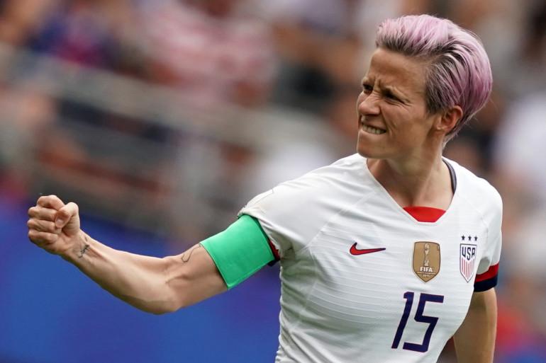 Megan Rapinoe après la victoire de l'équipe américaine contre l'Espagne, le 24 juin 2019