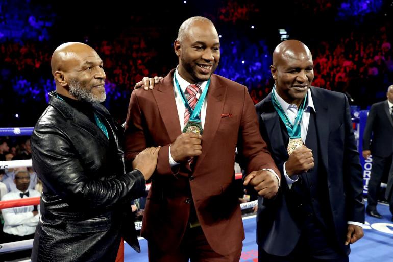 Mike Tyson, Lennox Lewis et Evander Holyfield à Las Vegas le 22 février 2020