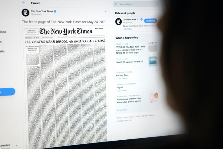 La Une du New York Times, dimanche 24 mai 2020