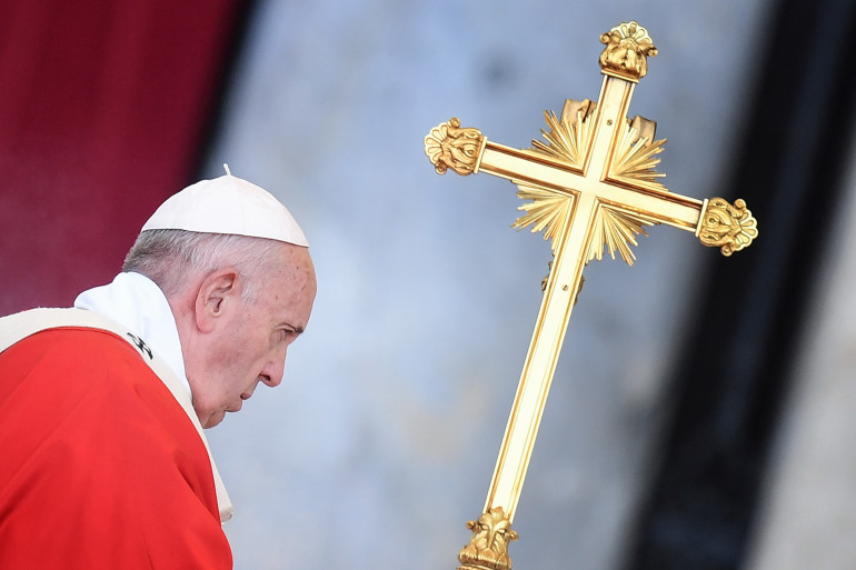 Le Pape François célèbre la messe de Pentecôte sur la place Saint-Pierre de Rome en 2019