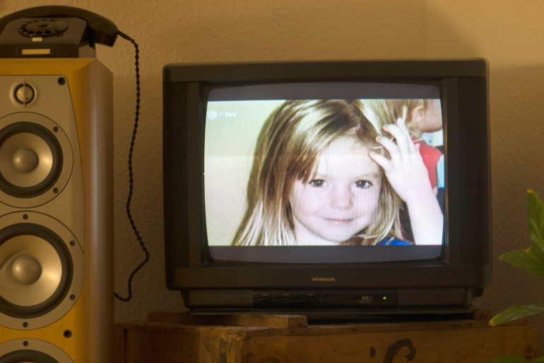 Le portrait de la petite Maddie, disparue en 2007, lors d'une émission de télévision, en octobre 2013.