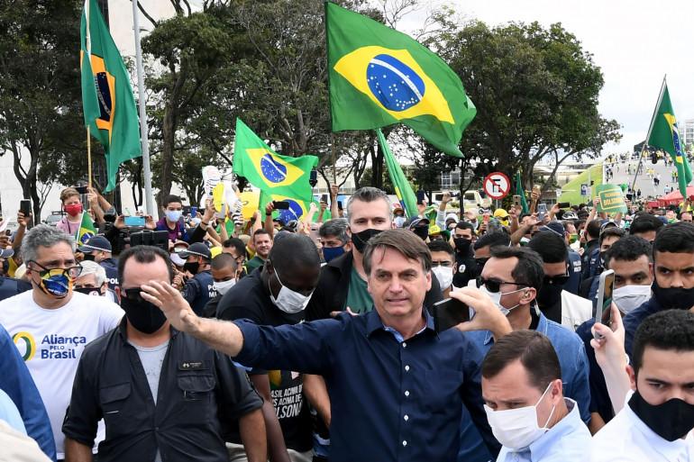 Le président du Brésil, Jair Bolsonaro, lors d'un rassemblement le 24 mai 2020.