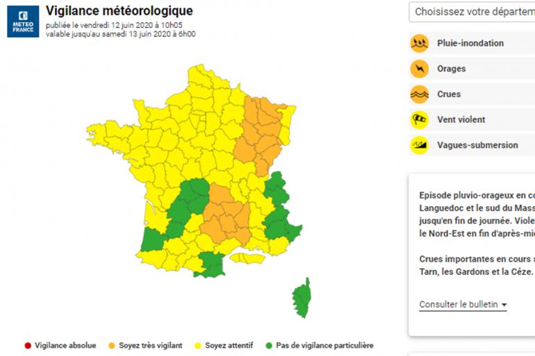 Carte de vigilance Météo France du vendredi 12 juin 2020