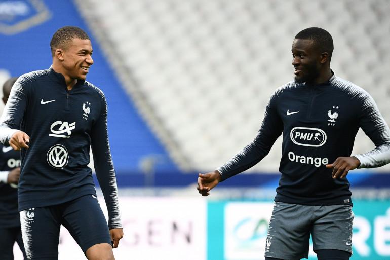 Kylian Mbappé et Tanguy Ndombele au Stade de France le 15 octobre 2018
