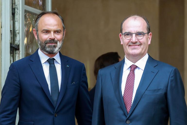 Édouard Philippe et Jean Castex avant la passation de pouvoir le 3 juillet à l'hôtel de Matignon (Paris)