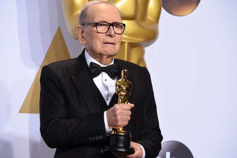 """Ennio Morricone lors de la cérémonie des Oscars pour """"Les Huit Salopards"""" de Quentin Tarantino"""