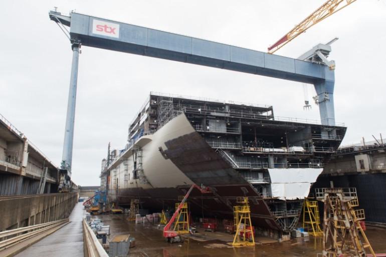 Le MSC Meraviglia en construction aux chantiers navals de Saint-Nazaire, le 14 avril 2016.