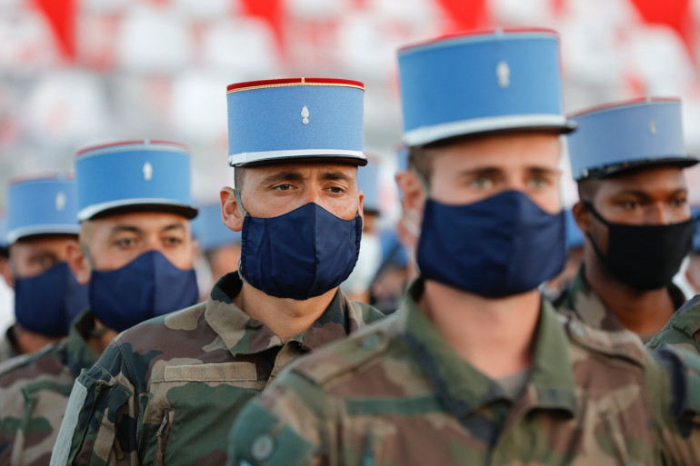 Des militaires lors de la répétition du défilé du 14 juillet