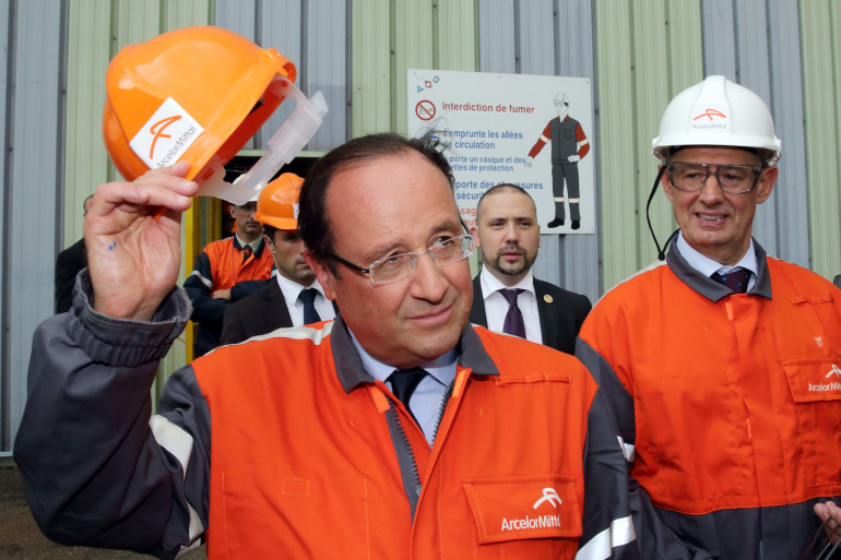 François Hollande à Florange, le 28 septembre 2013