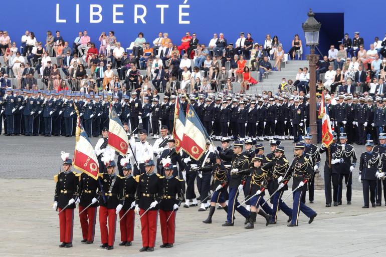 Les militaires place de la Concorde le 14 juillet 2020