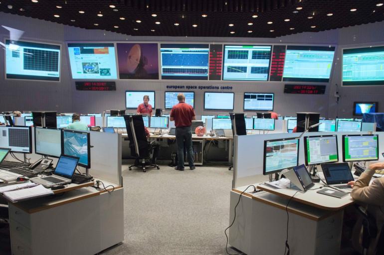 Le centre de contrôle de l'Agence spatiale européenne à Darmstadt, en Allemagne