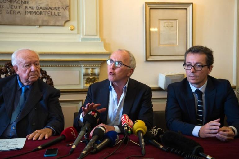 Jean-Claude Gaudin, Frank McCourt et Jacques-Henri Eyraud, à la mairie de Marseille le 9 septembre 2016