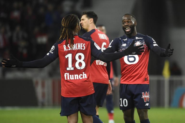 Les joueurs de Lille Jonathan Ikoné et Renato Sanches