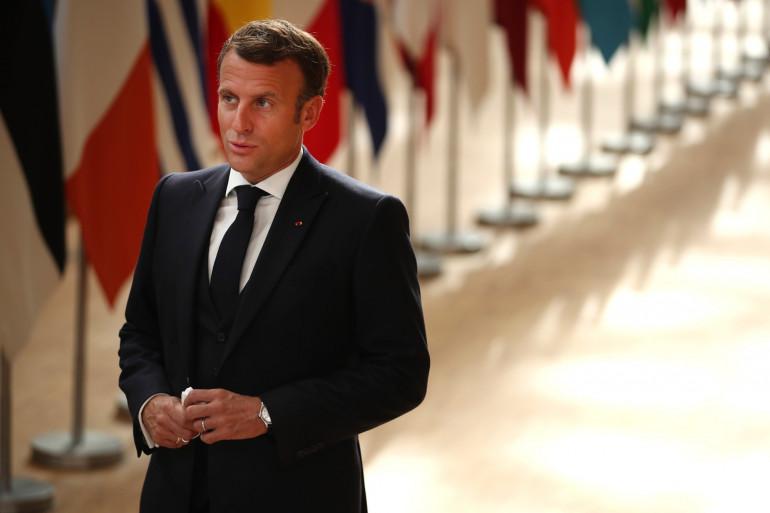 Emmanuel Macron à Bruxelles lors d'un sommet européen le 19 juillet 2020