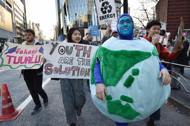 La marche pour le climat à Tokyo au Japon le 28 novembre 2015
