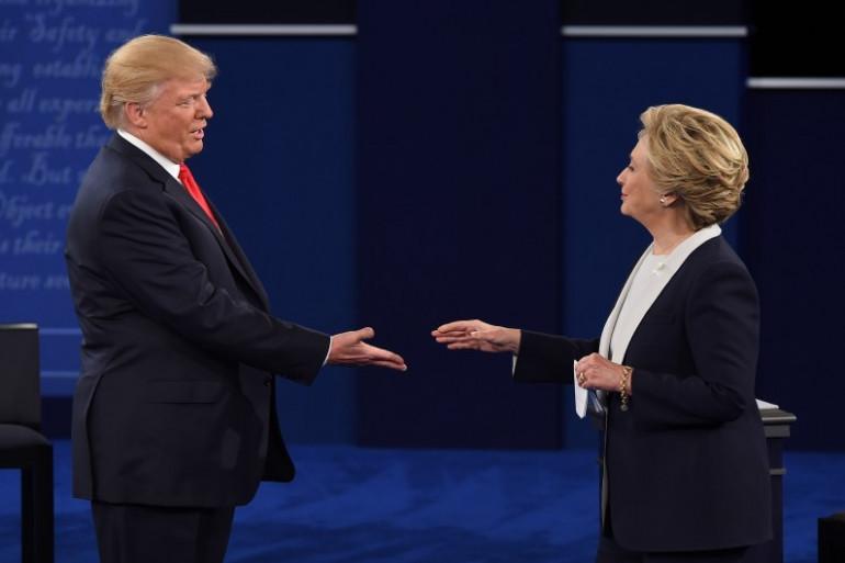 Hillary Clinton et Donald Trump lors du troisième débat présidentielle