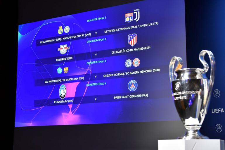 Le trophée de la Ligue des champions et les affiches des quarts de finale 2020, le 10 juillet à Nyon
