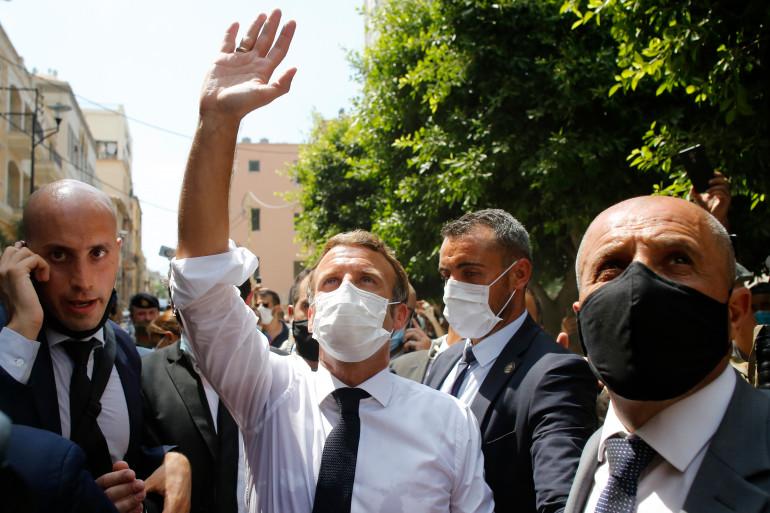Le président de la République Emmanuel Macron en visite au Liban le 6 août 2020
