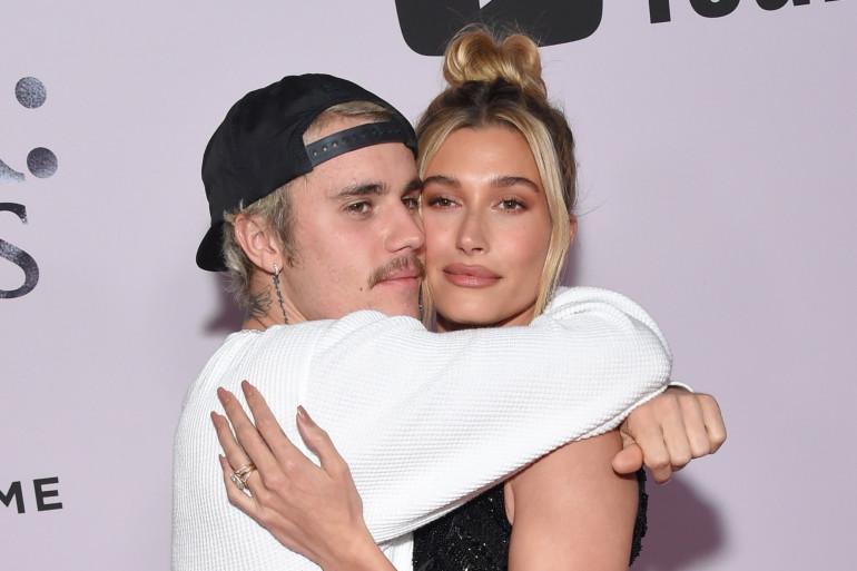 """Justin Bieber et son épouse Hailey Baldwin, à l'avant-première du film """"Justin Bieber Seasons"""", à Los Angeles, le 27 janvier 2020."""