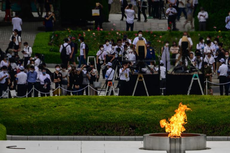 Peace Memorial Park de Hiroshima, Hiroshima (Japon), lors du 75e anniversaire de la tragédie, le 6 août 2020