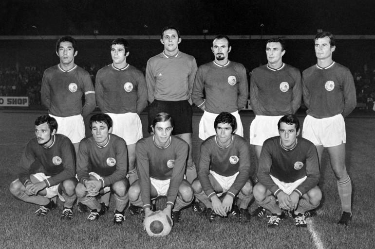 Les joueurs du Paris Saint-Germain, lors de leur première saison en 1970