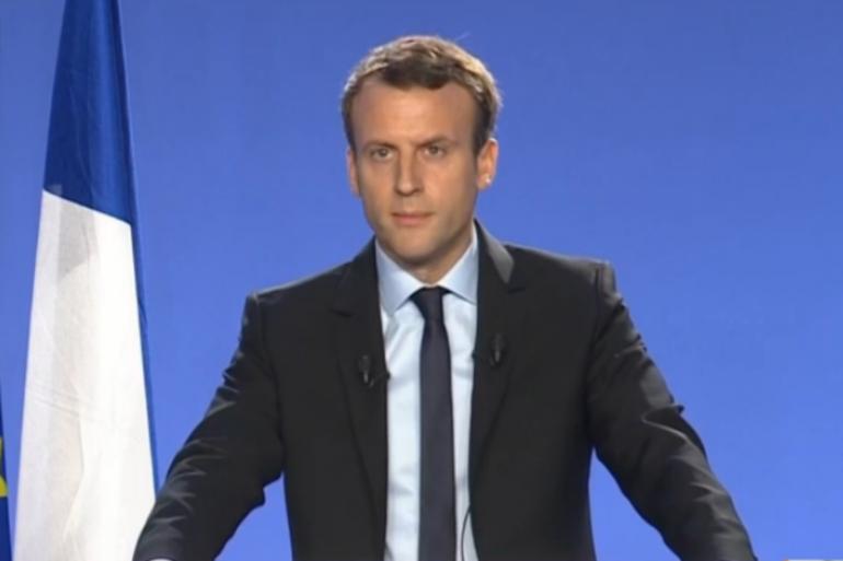 Emmanuel Macron lors de son discours de candidature le 16 novembre