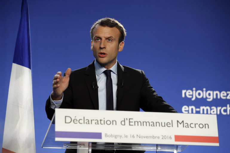 Emmanuel Macron lors de l'annonce de sa candidature à la présidentielle, le 16 novembre 2016