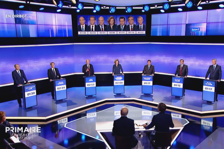 Le plateau du 3e débat de la Primaire de la droite, le 17 novembre 2016