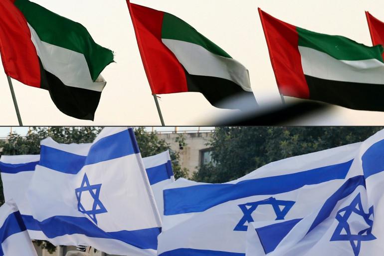 Les drapeaux des Emirats arabes unis et d'Israël