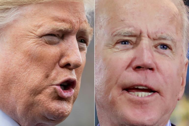 Les deux candidats à l'élection présidentielle américaine 2020 : Donald Trump pour le Parti républicain face à Joe Biden pour le Parti démocrate.