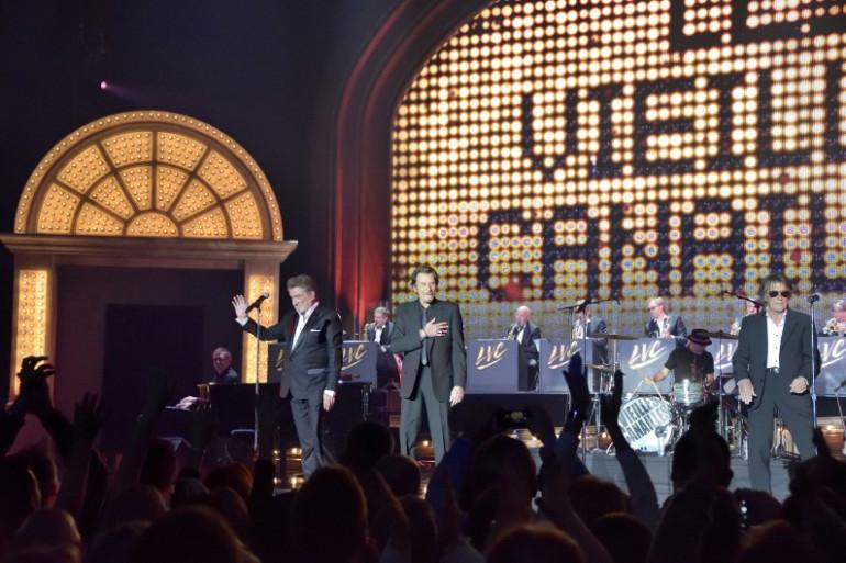 Les Vieilles Canailles (Johnny Hallyday, Jacques Dutronc et Eddy Mitchell) en concert au Palais Omnisports de Paris-Bercy le 6 novembre 2014