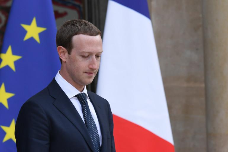 """Le président de Facebook Mark Zuckerberg à l'Élysée en marge du sommet """"Tech for Good"""" en mai 2018"""