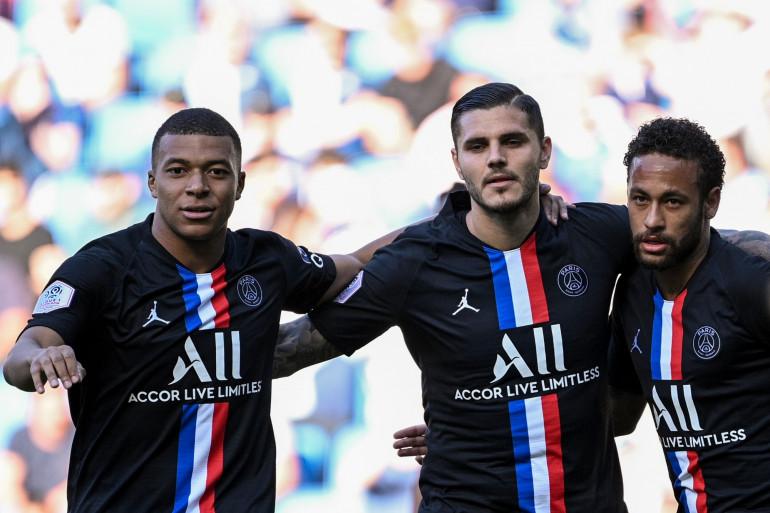 Mbappé, Icardi et Neymar avec le PSG au Havre le 12 juillet 2020