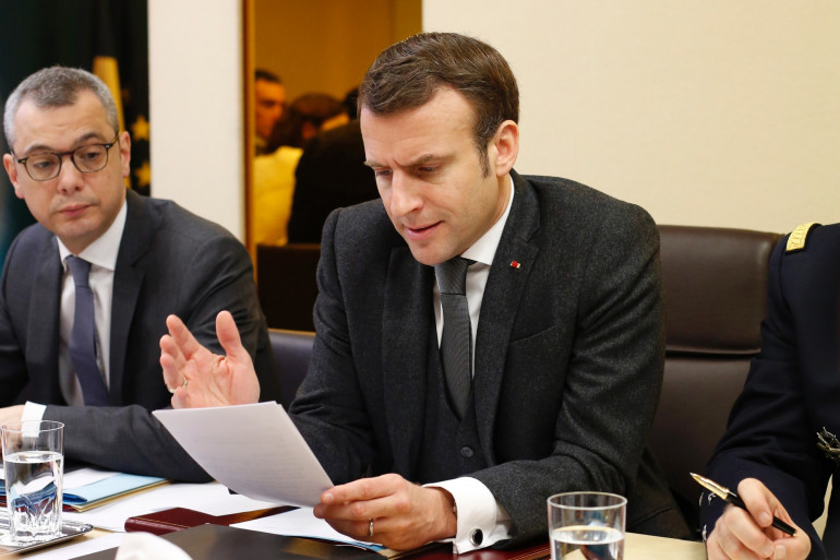 Emmanuel Macron, lors d'un conseil de défense à l'Élysée, le 4 mars 2020