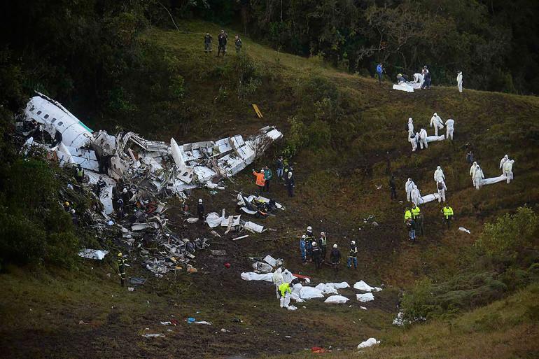 Les lieux du crash de l'avion de la Lamia, en Colombie le 29 novembre 2016