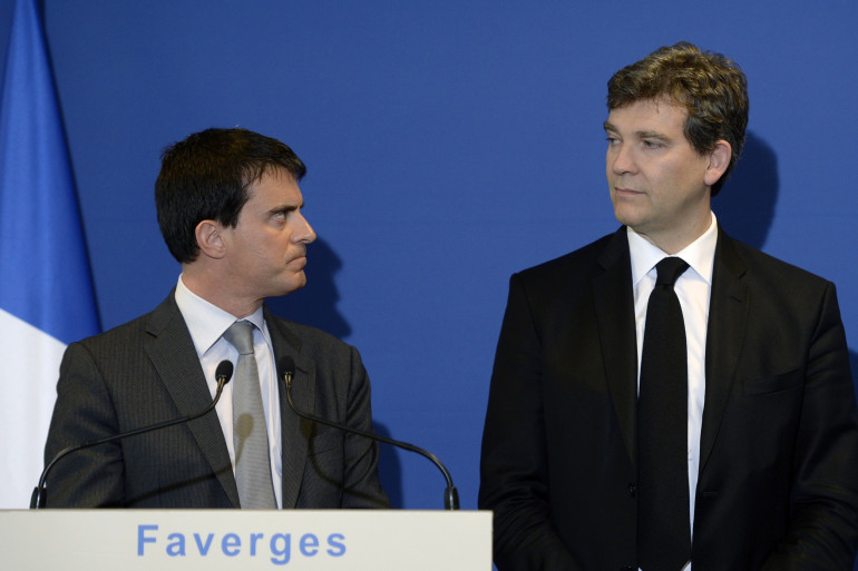Manuel Valls et Arnaud Montebourg, le 12 mai 2014 à Faverges