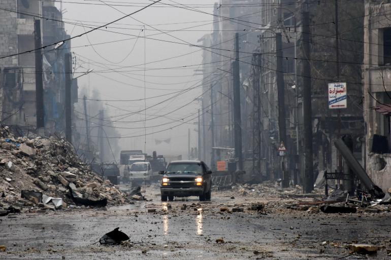 Un quartier d'Alep est complètement détruit, le 13 décembre 2016