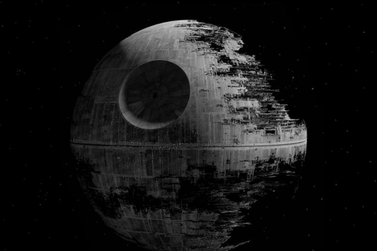 L'Étoile Noire, super-arme destructrice de l'Empire Galactique.