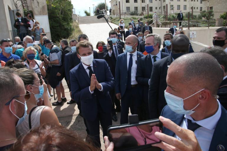 Emmanuel Macron en visite à Bonifacio le 10 septembre 2020